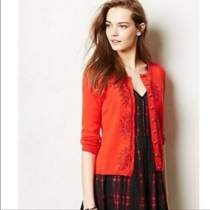 HWR ANTHROPOLOGIE FRENCH KNOT RED CARDIGAN SWEATER